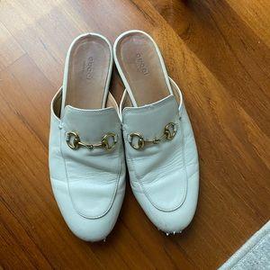 Gucci white loafer slides